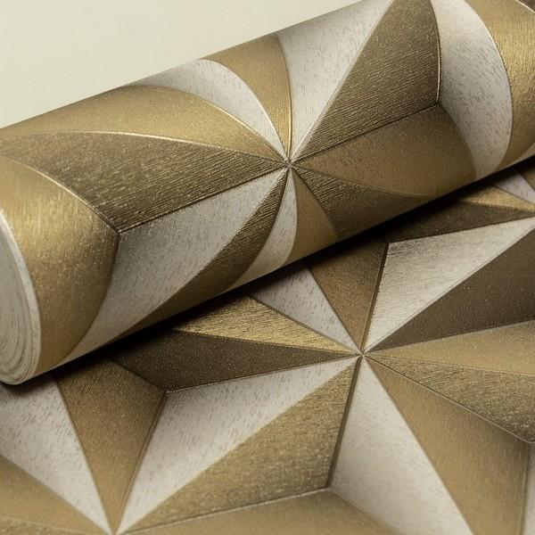 0a953dd47 Papel de Parede Vinílico Importado Geométrico 3D Dourado e Prata