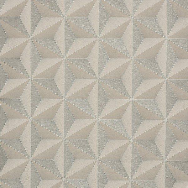 ideale papel de parede vinílico importado geométrico 3d prata